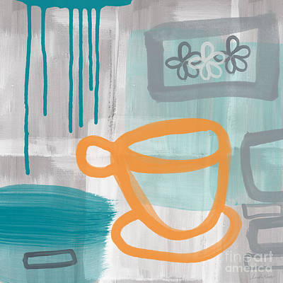 Teal Painting - Cup Of Happiness by Linda Woods