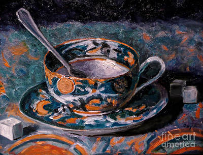 Painting - Cup Of Tea And Sugar Cubes by Amy Fearn