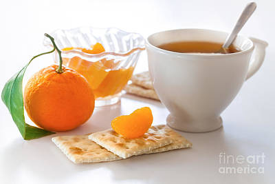 Photograph - Cup Of Tea And Tangerine by Sviatlana Kandybovich