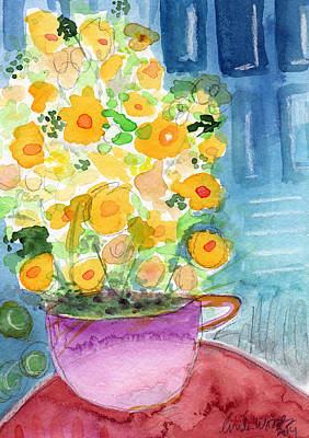 Floral Still Life Painting - Cup Of Yellow Flowers- Abstract Floral Painting by Linda Woods