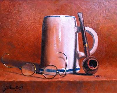 Wall Art - Painting - Cup Pipe And Glasses by Jim Gola