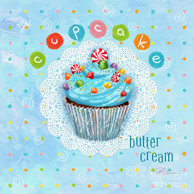 Candle Mixed Media - Cupcake-butter Cream by Shari Warren