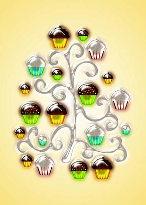 Cupcake Glass Tree Art Print