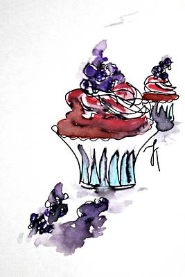 Blueberry Drawing - Cupcake by Jessica Toppo