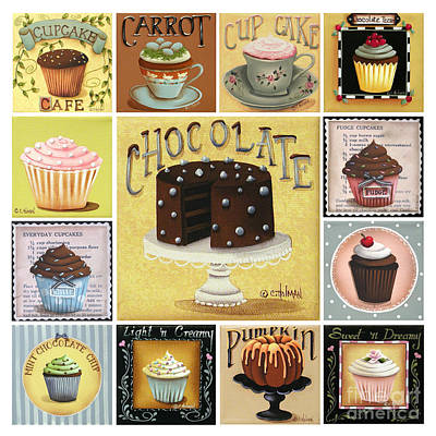 Folk Painting - Cupcake Mosaic by Catherine Holman