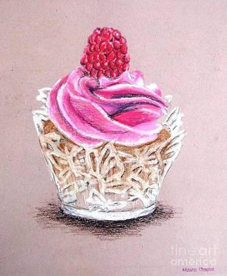 Raspberry Drawing - Cupcake by Natalia Chaplin