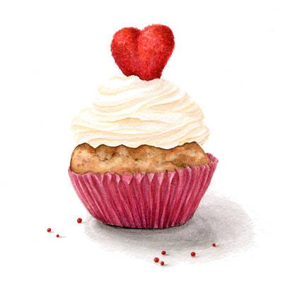 Menu Illustrations Painting - Cupcake by Nathalie Amber