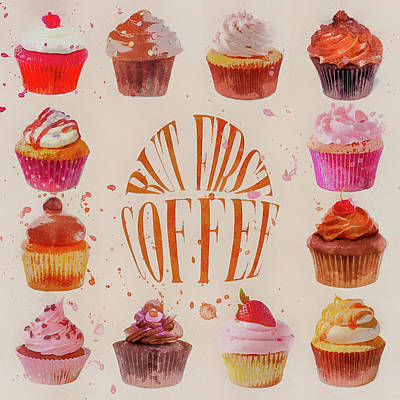 Donuts Painting - Cupcake Square by Cora Niele