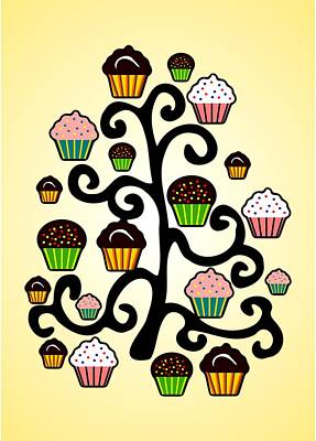 Xmas Digital Art - Cupcake Tree by Anastasiya Malakhova