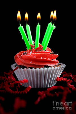 Photograph - Cupcake With Candles And Flames by Cindy Singleton