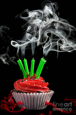 Photograph - Cupcake With Candles Blown Out by Cindy Singleton