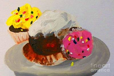 Art Print featuring the painting Cupcakes by Marisela Mungia