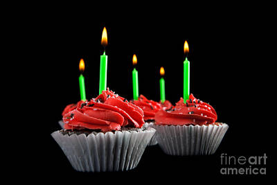 Photograph - Cupcakes With Candles by Cindy Singleton