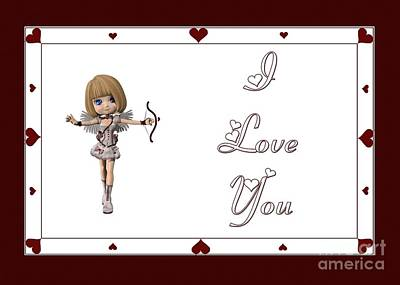 Digital Art - Cupid Fairy I Love You by JH Designs