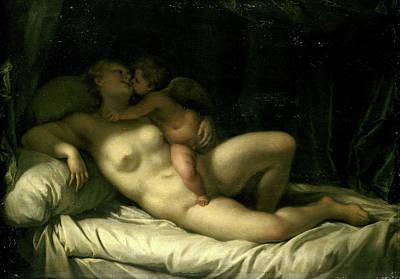 Venus Drawing - Cupid Kissing Venus, Venus Kissed By Amor by Litz Collection