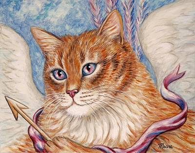 Cupid Kitty Print by Linda Mears