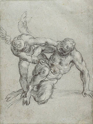 Overpowering Drawing - Cupid Overpowering Pan Recto,  Head Of A Monk by Litz Collection