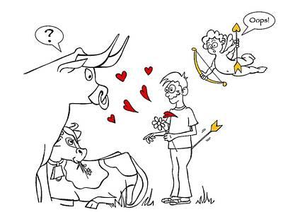 Drawing - Cupid Valentines by Konni Jensen