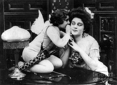 Photograph - Cupid Whispers A Message Of Love, 1901 by Science Source