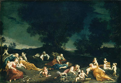 Sleeping Cupid Painting - Cupids Disarming Sleeping Nymphs by Giuseppe Maria Crespi