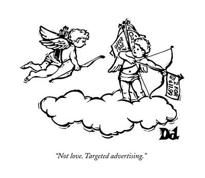 Drawing - Cupid's Twin Shoots Coupons From Up On A Cloud by Drew Dernavich