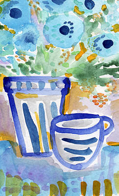 Stripes Mixed Media - Cups And Flowers-  Watercolor Floral Painting by Linda Woods