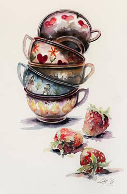 Cups And Strawberries Art Print by Kovacs Anna Brigitta
