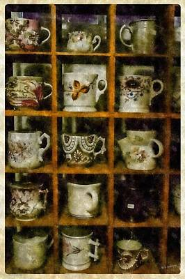 Photograph - Cups On Display In Digital Watercolor by Mick Anderson
