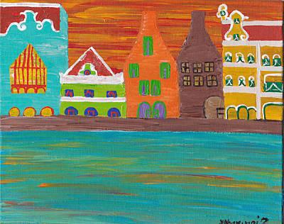 Curacao's Handelskade Abstract Art Print by Melissa Vijay Bharwani