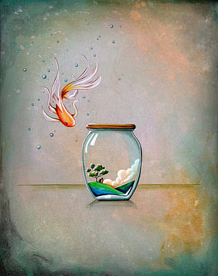 Goldfish Painting - Curiosity by Cindy Thornton