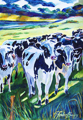 Painting - Curiosity Cows Original Sold Prints Available by Therese Fowler-Bailey