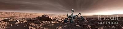 Curiosity Rover On Mars, Artwork Art Print by Detlev Van Ravenswaay