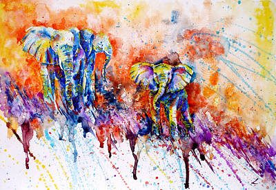 Multicolored Painting - Curious Baby Elephant by Zaira Dzhaubaeva