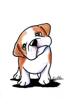 Bulldog Drawing - Curious Bulldog by Kim Niles