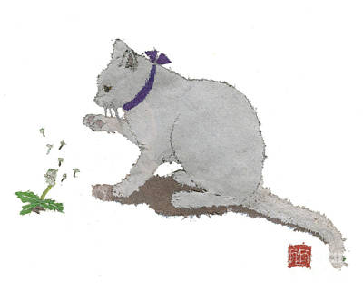 Cat Art Hand-torn Newspaper Painting  Art Print by Keiko Suzuki