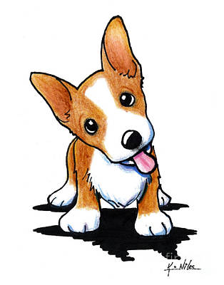 Puppy Drawing - Curious Corgi by Kim Niles