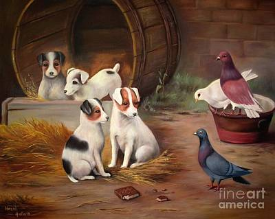 Barrel Painting - Curious Friends by Hazel Holland