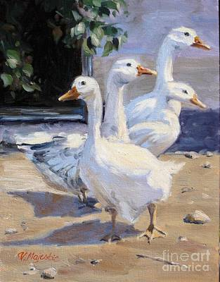Painting - Curious Geese At The Farm by Viktoria K Majestic