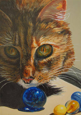 Marble Eyes Painting - Curious by Karen Ilari