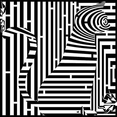 Trippy Maze Art Digital Art - Curious Kitten Maze by Yonatan Frimer Maze Artist