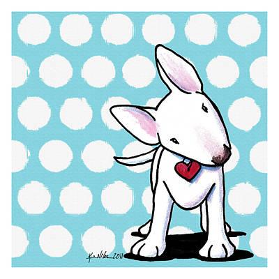 Bull Terrier Mixed Media - Curious Little Bully by Kim Niles