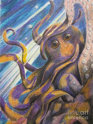 Colored Pencil Painting - Curious Octopus  by Laurianna Taylor