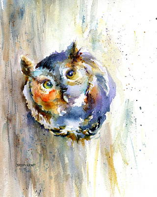Painting - Curious Screech Owl by Christy Lemp