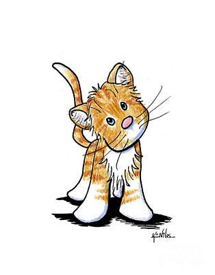 Orange Tabby Drawing - Curious Tabby by Kim Niles