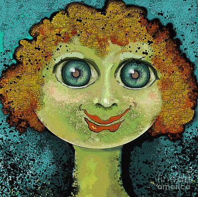 Figurative Digital Art - Curl Gurl by Carol Jacobs