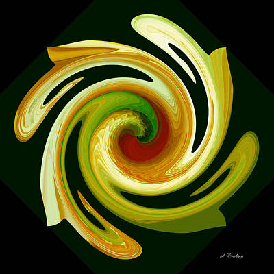 Art Print featuring the digital art Curl II In Green And Gold by Roy Erickson