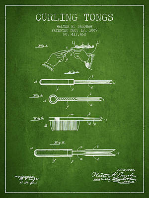 Curling Tongs Patent From 1889 - Green Art Print by Aged Pixel