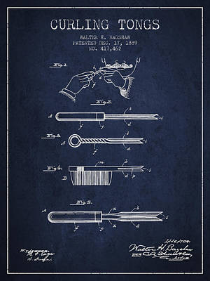 Antique Drawing - Curling Tongs Patent From 1889 - Navy Blue by Aged Pixel