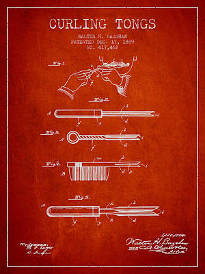 Barber Shops Digital Art - Curling Tongs Patent From 1889 - Red by Aged Pixel
