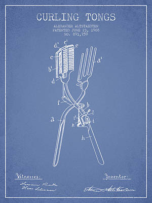 Curling Tongs Patent From 1908 - Light Blue Art Print by Aged Pixel